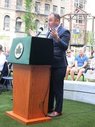 chelsea green park manhattan new york city parks city council speaker cory johnson